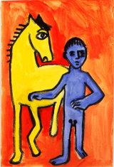 "©  Kourosh Bahar | variation II  [Picasso BLH], acrylic/paper, 15x10"""