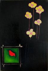 "©  Kourosh Bahar | yellow flowers, 1996, oil/canvas, 36x24"""