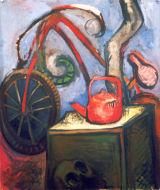 "©  Kourosh Bahar | skull and bicycle, 1997, oil/canvas, 36x30"""