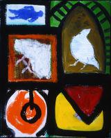 "©  Kourosh Bahar | fragments, 2000, oil + newsprint / canvas, 30x24"""