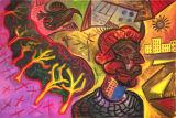 "©  Kourosh Bahar | minotaur in city, 2000, oil/canvas, 24x36"""