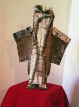 "©  Kourosh Bahar | Hoopoe, 2001, wood tin screws nails spring paint, 15x11x5"""