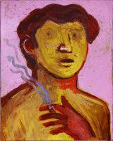 "©  Kourosh Bahar |  smoker, 2002, oil/canvas, 20x16"""