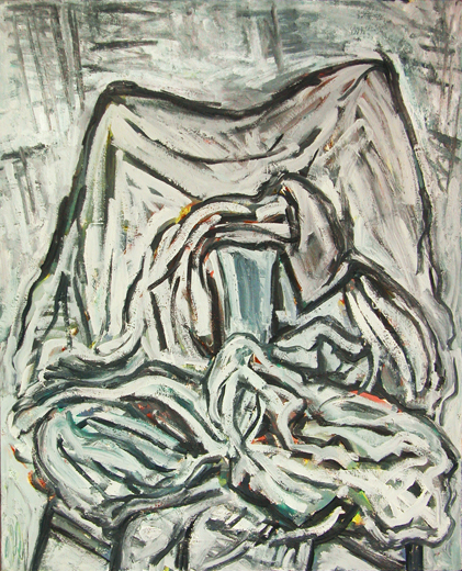 "©  Kourosh Bahar   clothes on chair II, 01/2002, oil/canvas, 30x24"""