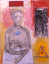 "©  Kourosh Bahar | Talisman, 2002, acrylic+graphite+cloth+wood+paper / canvas, 30x24"""