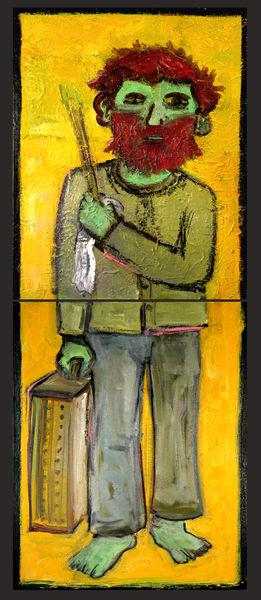 "© Kourosh Bahar   journeyman, 2002, diptych, oil/canvas, 2 x (20x16"")"