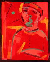 "©  Kourosh Bahar | red man with green sun, 2002, oil/canvas, 20x16"""