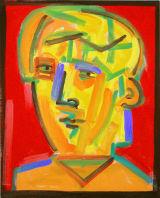 "©  Kourosh Bahar | yellow man on red, 2002, oil/canvas, 20x16"""