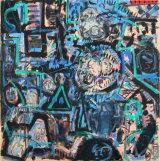 "©  Kourosh Bahar | Dwellers iii, 2003, oil+charcoal+newsprint/canvas, 24x24"""