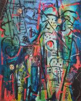 "©  Kourosh Bahar | Dwellers I, 2003, oil/canvas, 30x24"""