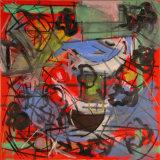 "©  Kourosh Bahar |  Red i, 2003, oil+charcoal / canvas, 24x24"""