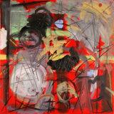 "©  Kourosh Bahar |  Red ii, 2003, oil+charcoal / canvas, 24x24"""