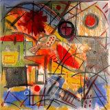 "©  Kourosh Bahar |  Red iii, 2003, oil+charcoal / canvas, 24x24"""