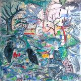 "©  Kourosh Bahar |  ravens / arrival, 2004, oil/canvas, 36x36"""