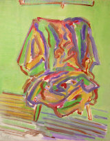"""clothes on chair I, 2005, oil/wood, 11.75 x 9"""""""