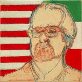 "©  Kourosh Bahar | Self-portrait with flag, 2007, oil, pencil & rabbit-skin glue on canvas, 12x12"""