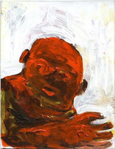 "pawn, 2010, acrylic/postcard, 6.5 x 5"""