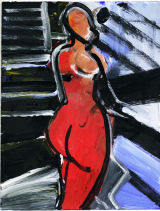 """standing nude back on blue, 2010, acrylic/paper, 11x8.5"""""""