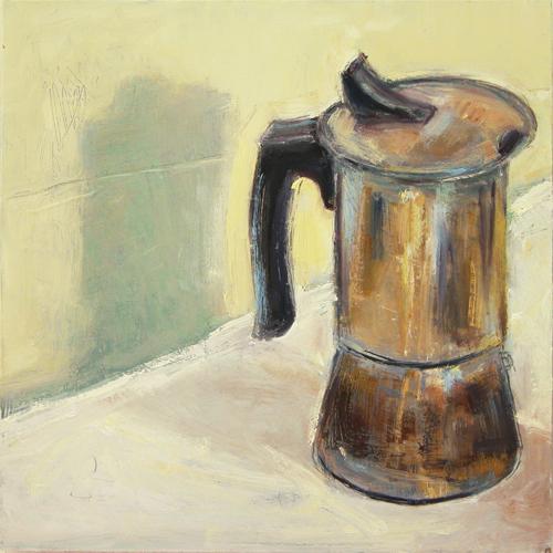 "©  Kourosh Bahar | stovetop espresso, 2011, oil / wood panel, 10x10"", panel depth 3/4"""