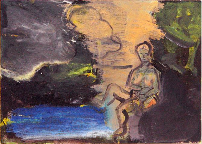 "©  Kourosh Bahar | nude in landscape, 2012, oil+acrylic on postcard, 4 1/8 x 5 3/4"""