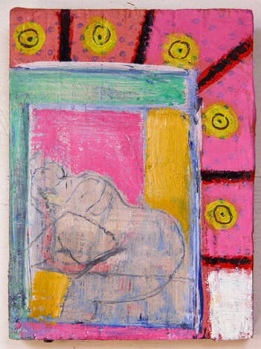 "©  Kourosh Bahar   small figure in mirror, 2002./2015, oil, tempera & pencil on wood, 4.75 x 3.5"""