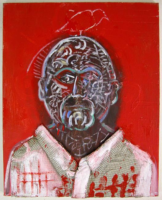 "©  Kourosh Bahar | Self-portrait w Checkered Shirt, 2003-2016, 20x16"", Oil+Acrylic+Shirt on Canvas"