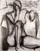 ©  Kourosh Bahar | sitting nude gazing, 1995, charcoal/paper