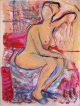 "©  Kourosh Bahar | variation I  [Rubens bathsheba], 2003, oil+charcoal / cardboard,  20x15"""