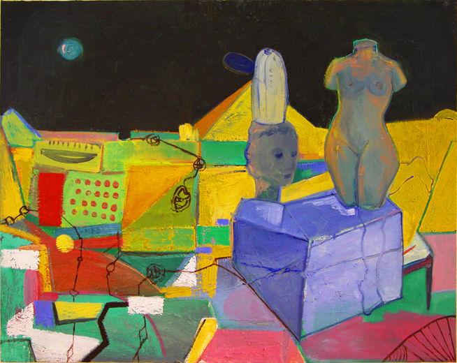 "©  Kourosh Bahar | nefertiti-naked-on-the-moon, 2009-2011, oil/canvas, 24x30"""