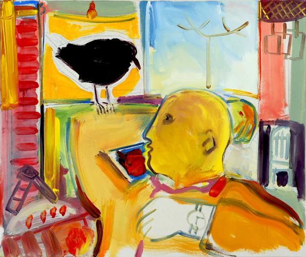 "© Kourosh Bahar   Raven, 2008, oil on rabbit-skin-glue-sized canvas, 20x24"""