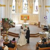 Pontefract wedding photographer.  Exchanging vibes during the wedding service.