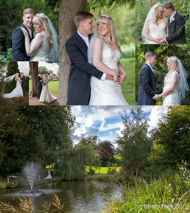 Bride and groom _ Bagden Hall Hotel _ gardens