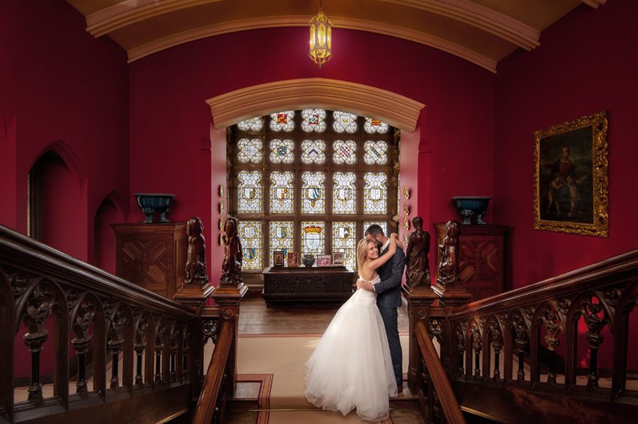 Bride and groom inside Carlton Towers on their wedding day.