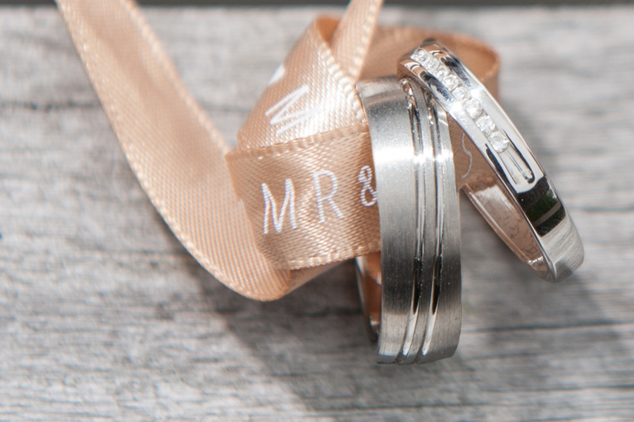 West Yorkshire wedding photographer. The bride and groom's wedding rings.