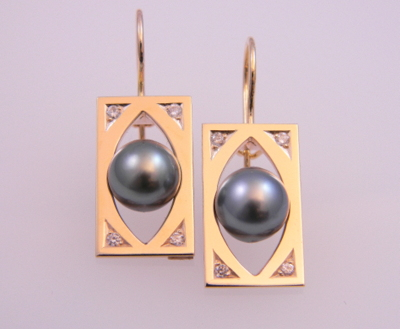 Round Black Pearl Earrings