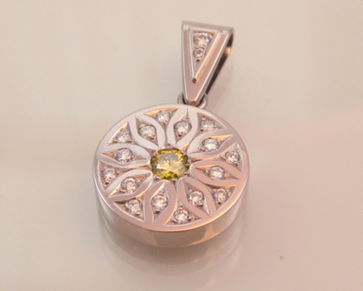 Yellow & White Diamond Pendant in White Gold