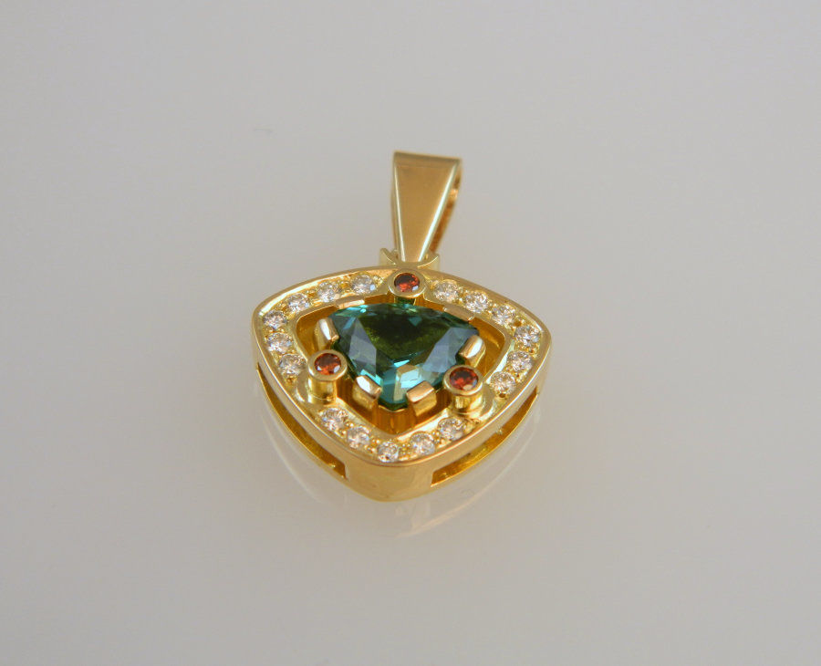 Tourmaline - Diamond - Ruby Pendant