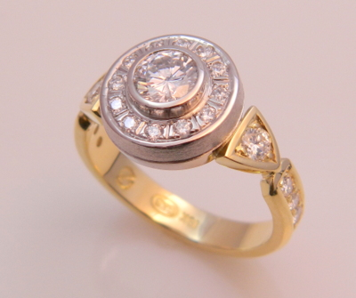 Diamond Ring in 18K Yellow & Palladium White Gold