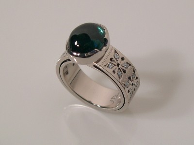 White Gold Ring with Tourmaline Cab