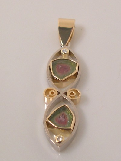 Double Watermelon Tourmaline Pendant