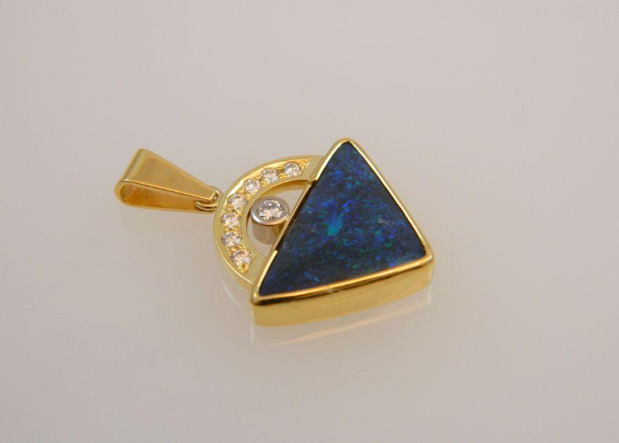 Black Opal Pendant with Diamonds