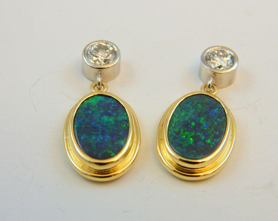 Black Opal & Diamond Earrings