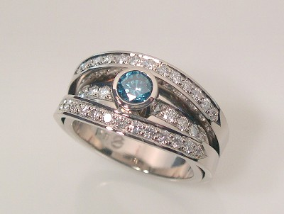 BLUE DIAMOND RING - SPLIT SHANK