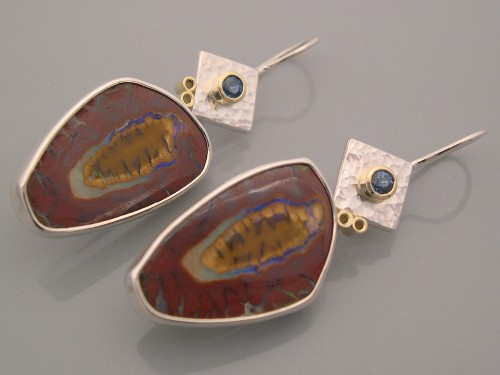 Boulder Opal Matrix Silver Earrings