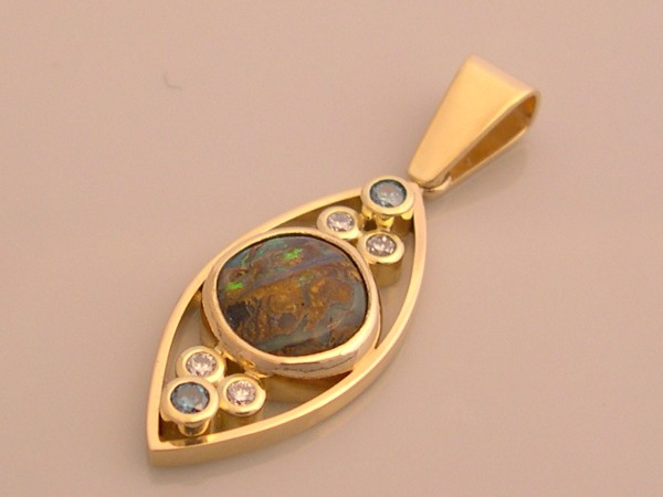 Boulder Opal Matrix & Diamonds Gold Pendant