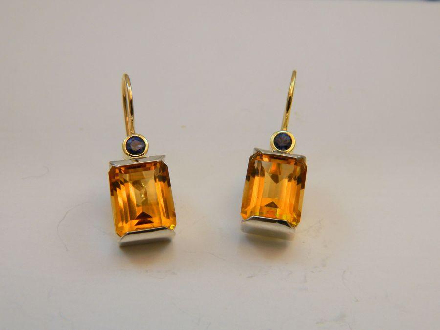 Citrine & Sapphire Earrings in Silver & 14k Gold