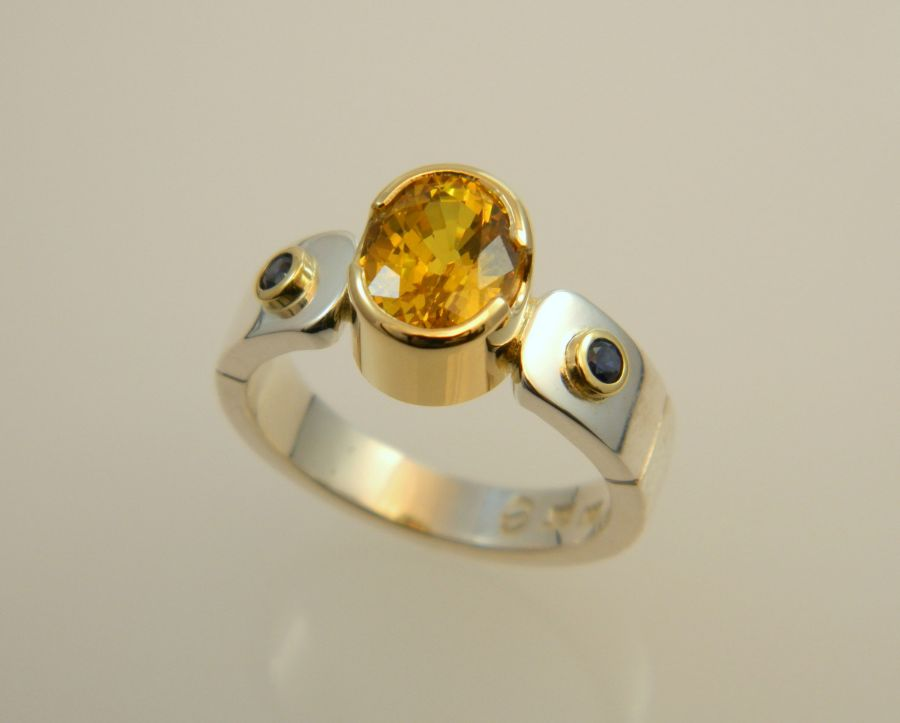 Citrine & Sapphire Ring in silver & 14k gold