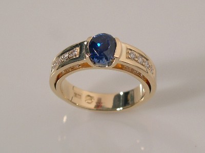 Narrow Double Shank Ring with Sapphire