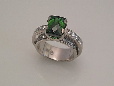 White Gold Double Shank Ring with Tourmaline