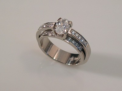 White Gold Double Shank Ring with Diamond